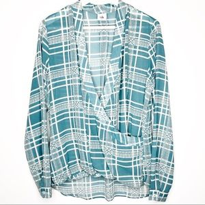CABI windowpane teal faux wrap blouse | size M
